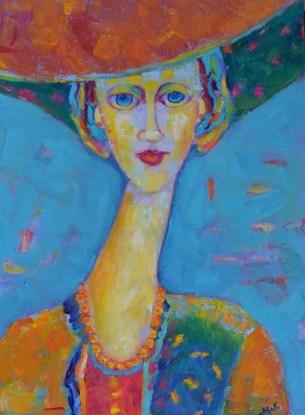 Obraz olejny postać kobiety a la Modigliani kobieta w kapeluszu