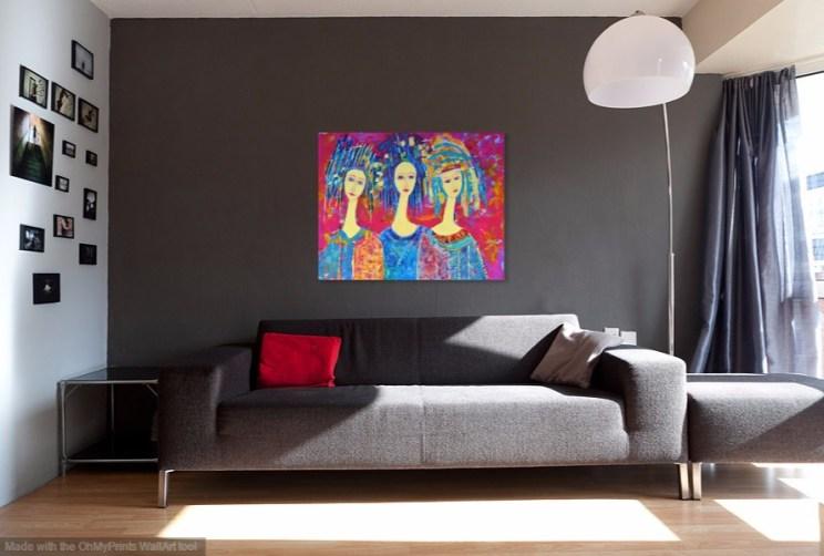 Obraz Trzy anioły - obrazy na płótnie duże kolorowe
