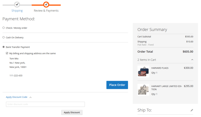 Magento Checkout Payment Method