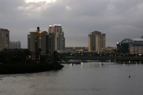 Downtown Tampa. From right to left, the hockey arena, the Embassy Suites Hotel, the convention center, the Marriott, and then a few high rise condos on Harbour Island.