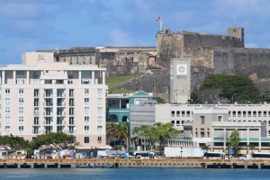 The waterfront with Castillo San Cristóbal on the hill above.