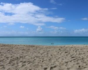 On the Antigua horizon, the island of Montserrat.