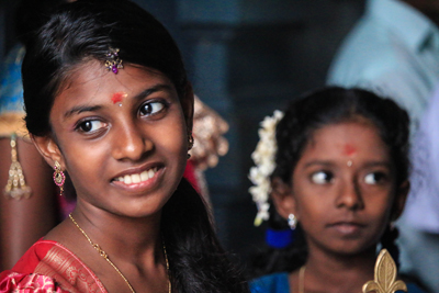 """Young Girls at a Hindu Wedding Ceremony."""
