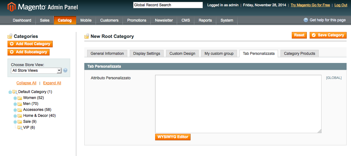 Attributo Custom Magento Categories