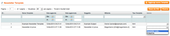newsletter in magento in coda