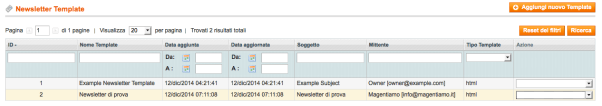 newsletter in magento invio