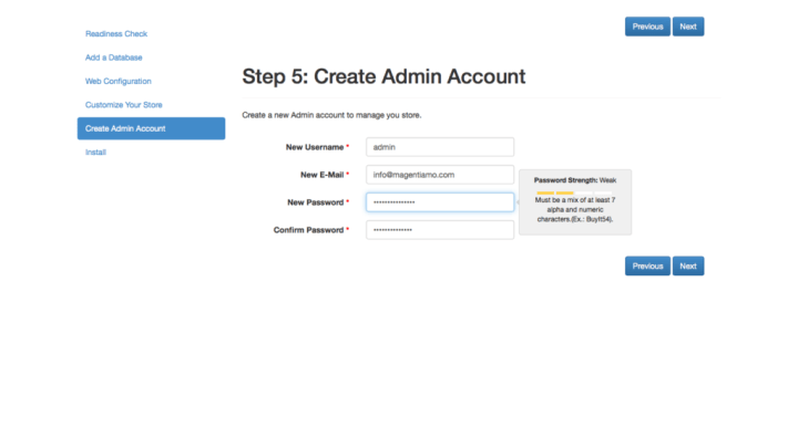 Magento 2 admin account