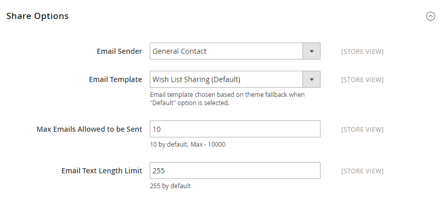 How to Configure the Wish List Share Options