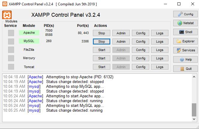 Start Apache and MySQL in XAMPP Control Panel