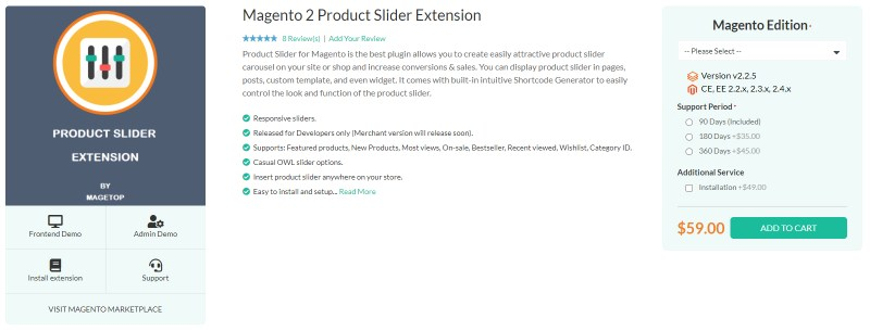 Magetop Product Slider Extension