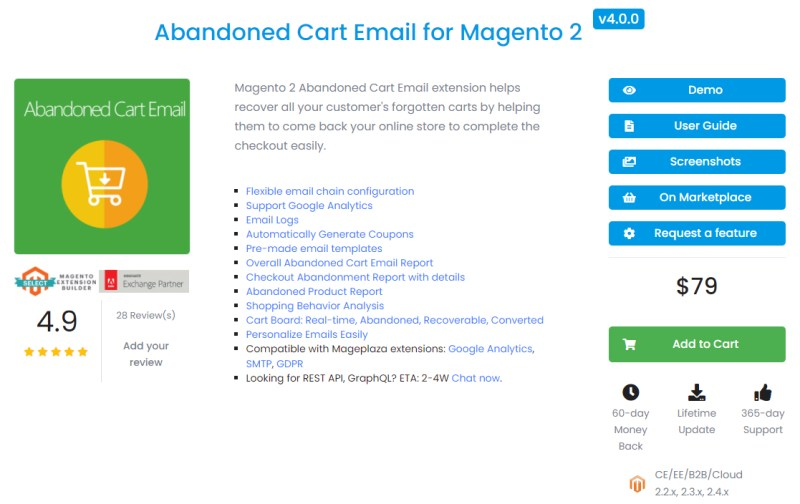 Abandoned Cart Email for Magento 2 - Mageplaza