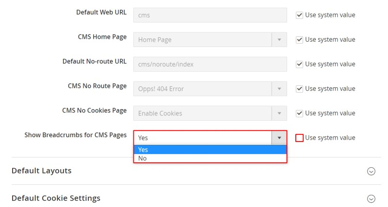 Choose Show or Remove breadcrumb for CMS Pages