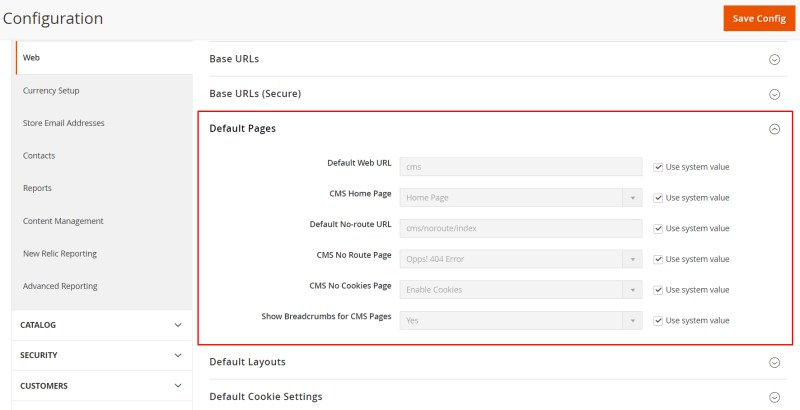 Expland Default Pages Section