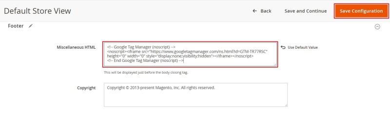 chèn mã body Google Tag Manager trong Magento 2