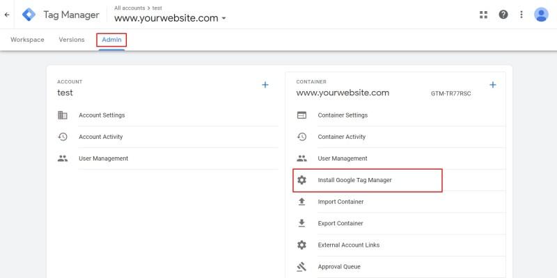 xem lại mã Google Tag Manager