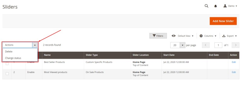 9. Manage Action In Product Slider