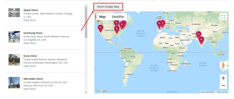 Click Reset Google Map to set the map back to default.