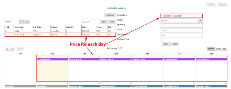 Price for each day