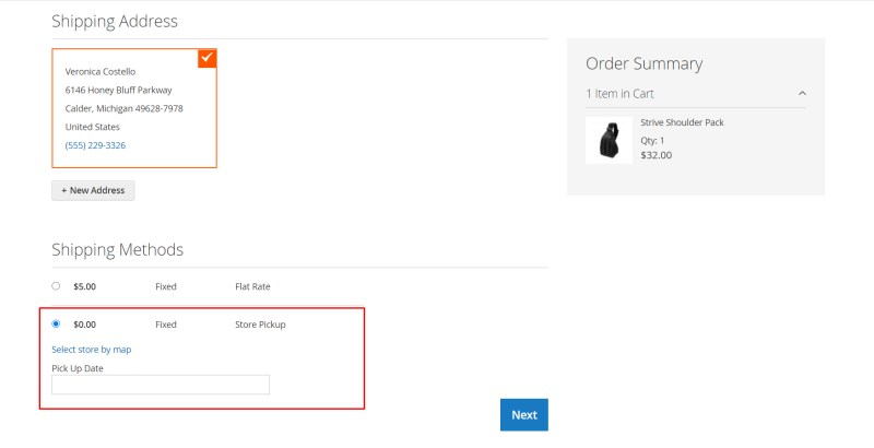 Select Store Pickup Shipping Methods In Checkout Page