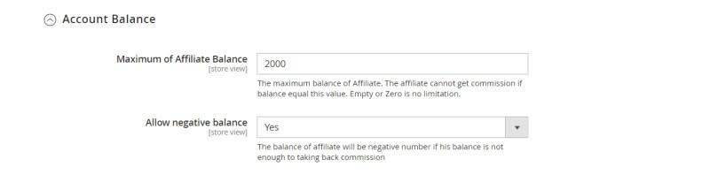 Account Balance (Account Configuration)