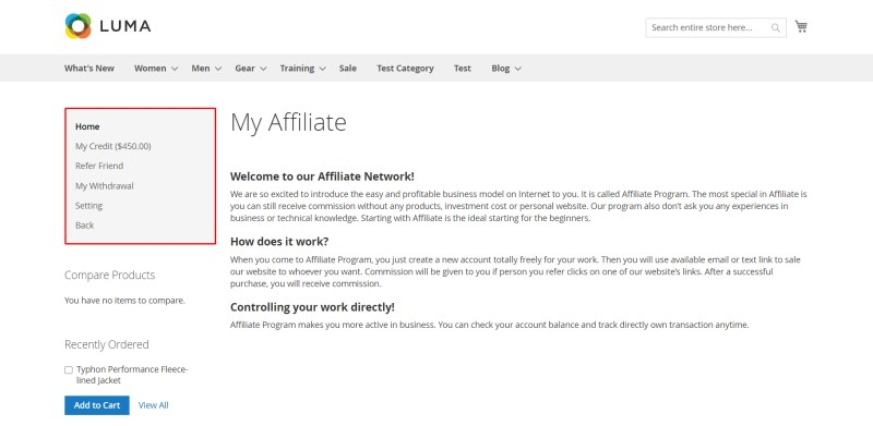 Affiliate Home Page after login