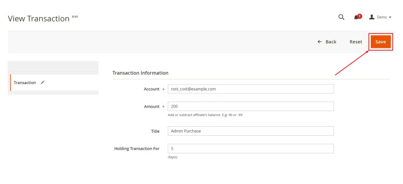Click Save button (Add New Transaction)