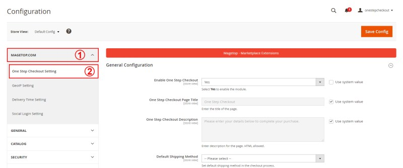 Expand MAGETOP One Step Checkout Setting