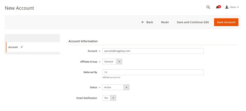 Fill out the Account Information on the form.