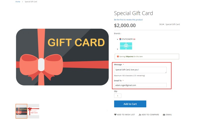 Gift Card in Product Page