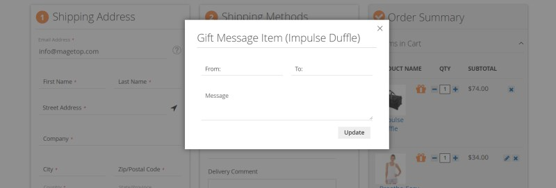 Gift Message Item Pop-up