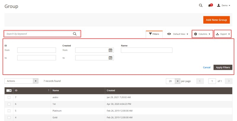 Search, filter, export data, select columns of groups (Manage Groups)
