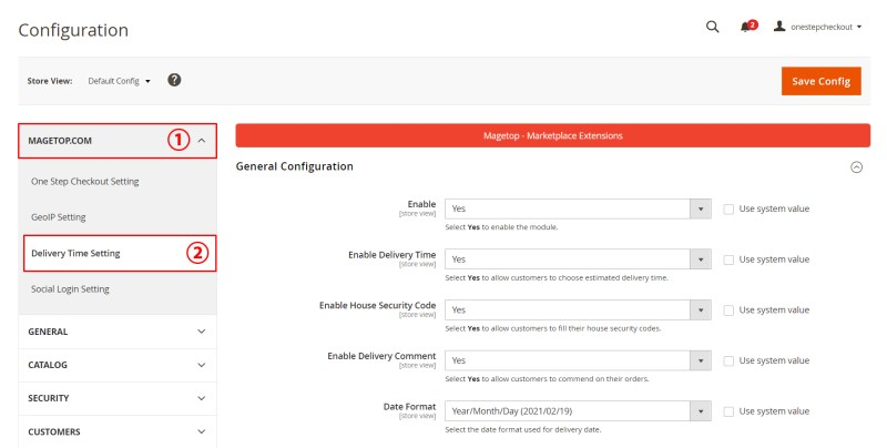 Select MAGETOP.COM -> Delivery Time Setting