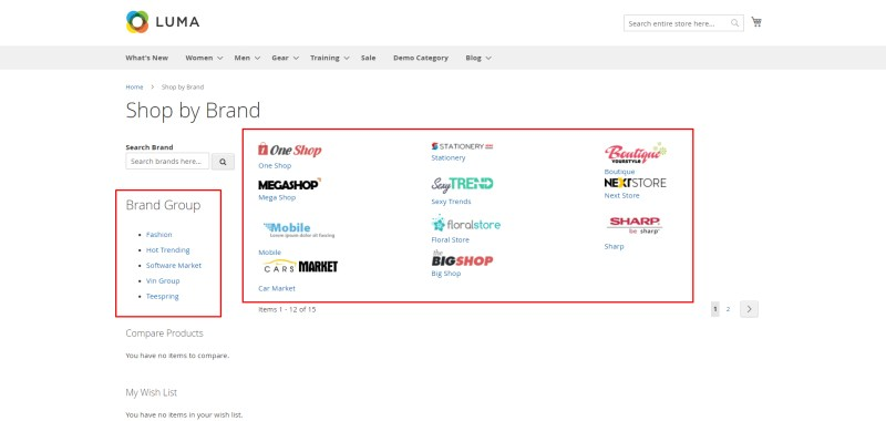 Brand Group and Brands which are available in the store