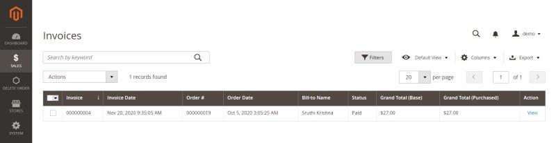 Invoice after delete order