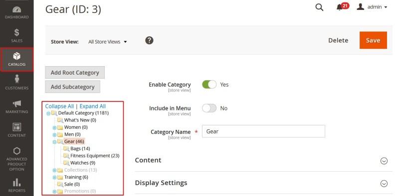 chọn catalog->categories trong Magento 2