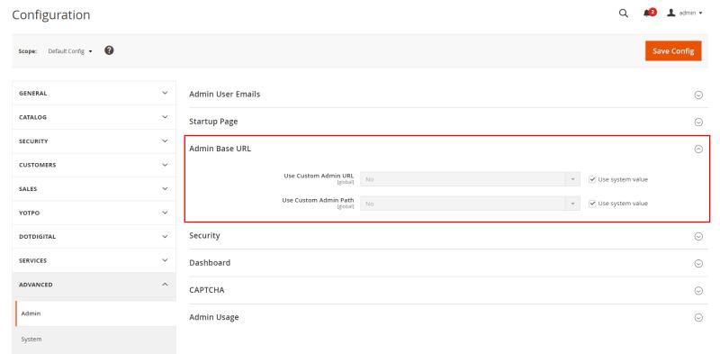 Expand theAdmin Base URLsection