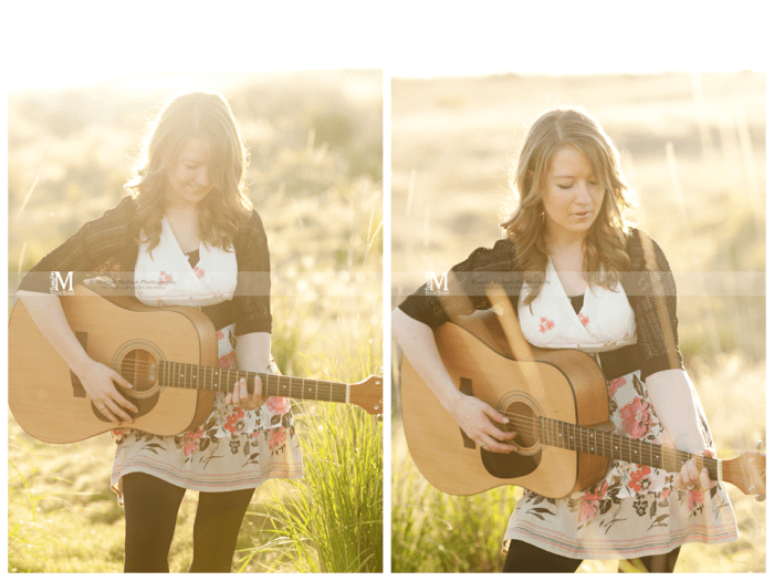 senior girl guitar sunshine
