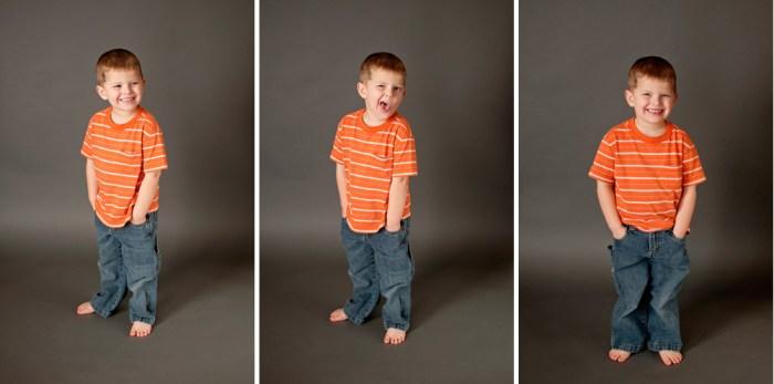 orange t-shirt, four-year-old boy, sillyness