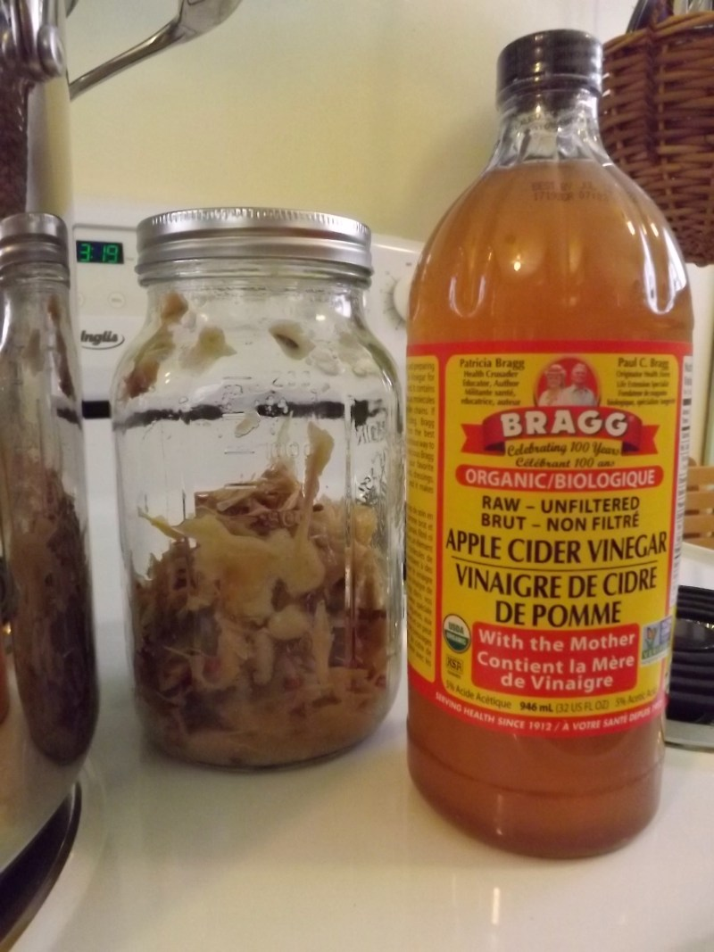 jar with apple skins and seeds and botto of apple cider vinegar