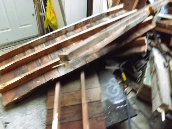 Garage old roof down