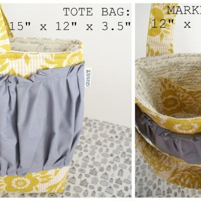 {back in the shop: Yellow Woodgrain totes/market totes, *limited quantity*}