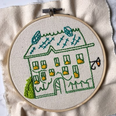 Embroidering Madeline's house!