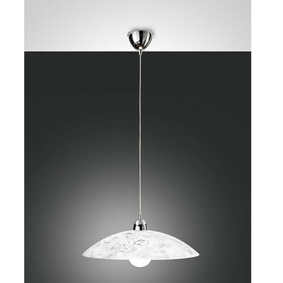Fabas Luce Sospensione Royal Struttura In Metallo E Vetro Bianco/argento