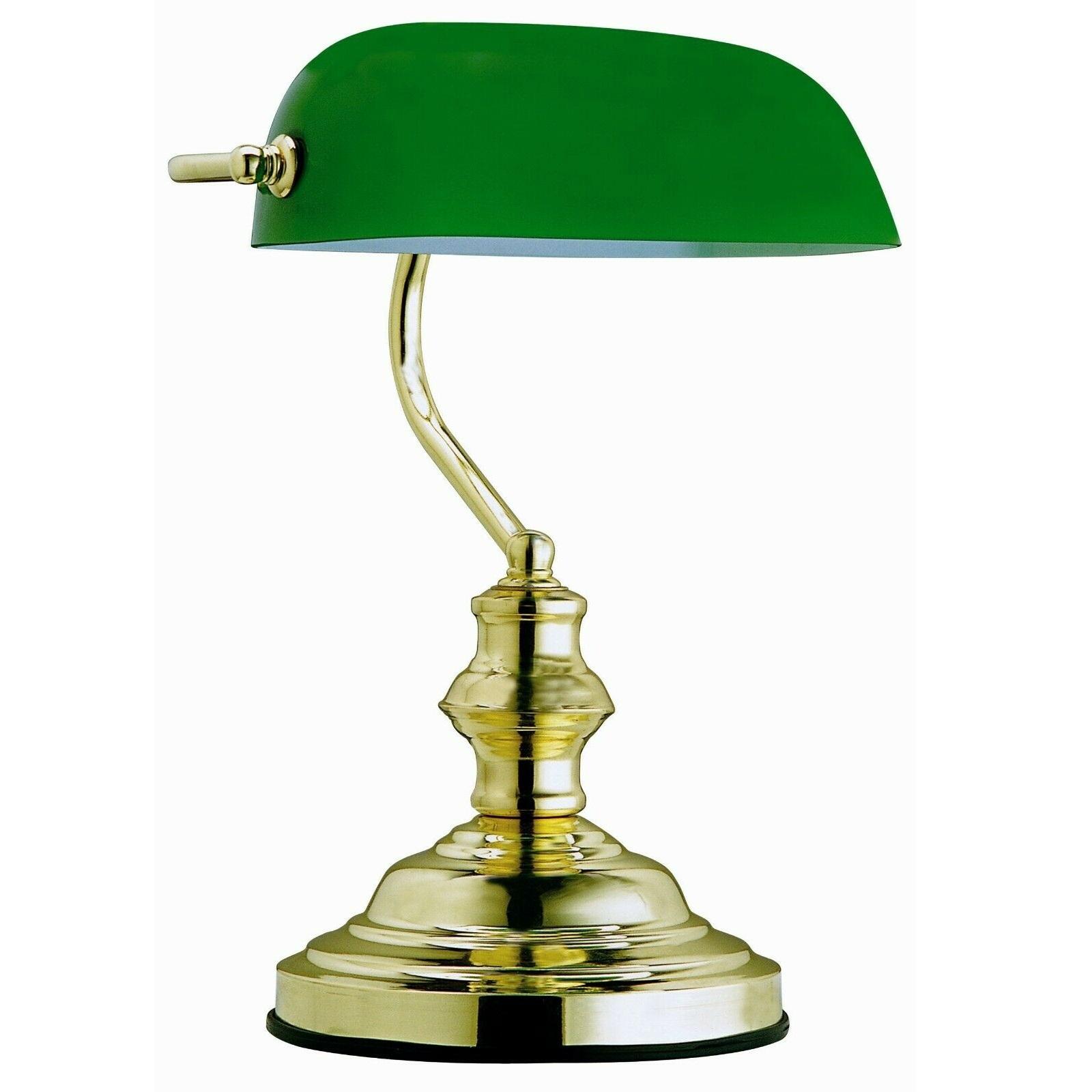 Lampada Da Tavolo Ministeriale In Ottone Lucido Vetro Verde