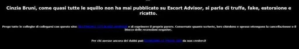 Recensioni a pagamento. Dettaglio di quanto pubblicato dalla escort Cinzia Bruni.