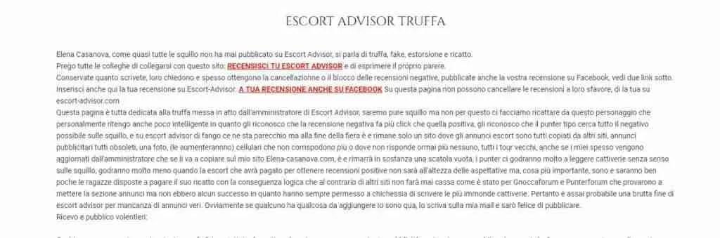 Recensioni a pagamento. Dettaglio di quanto pubblicato dalla escort Treviso Elena Casanova
