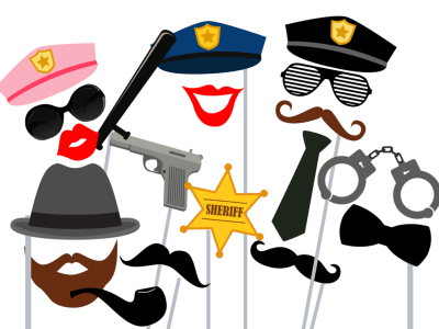cops and robbers photobooth props police