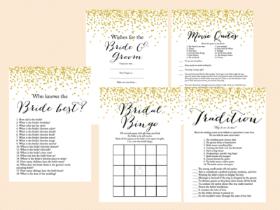 gold confetti bridal shower game set modern bridal