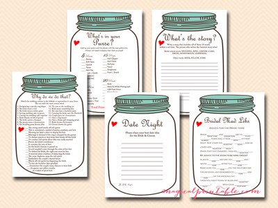 mason jars bridal shower games rustic bridal shower game package instant download