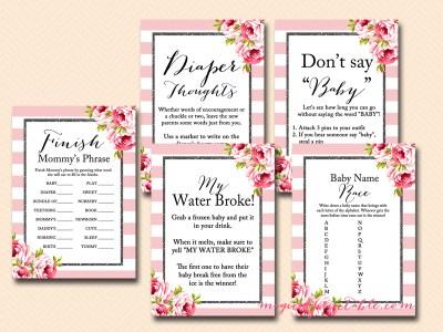 Floral Black Sparkle Glitter Baby Shower Games Instant Download